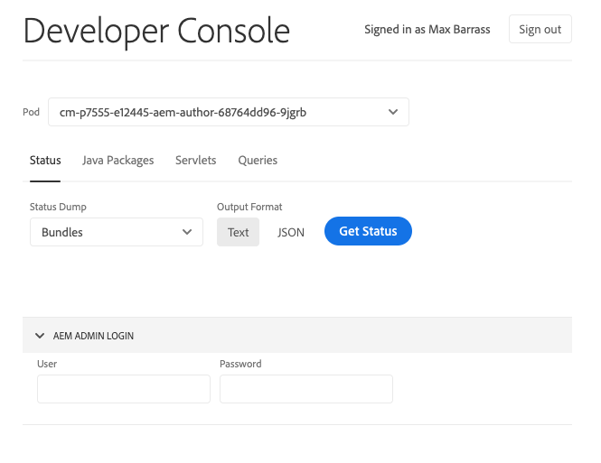 AEM New Developer Console